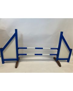 Překážka modrá (uzavřená) s dvěma pružinovými tyčemi a 4 závěsnými konzolami