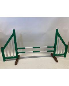 Zelená překážka (otevřená) s dvěma skákavými paprsky a 4 podpěrami zavěšení